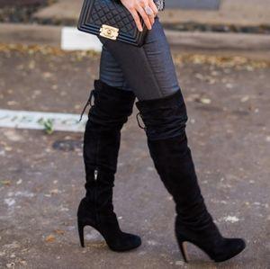 Sam Edelman Black Suede Kayla Thigh High Boots